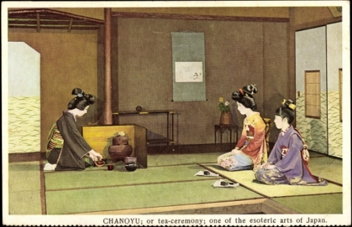una cartolina del 1931 raffigurante la cerimonia del té giapponese