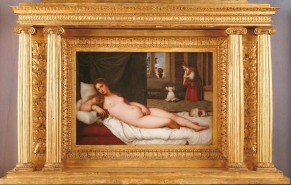 Abraham Constantin (1785-1855); manifattura di Sèvres (?) Venere Da Tiziano 1821. Lastra rettangolare in porcellana dipinta; cornice dorata contemporanea di fattura fiorentina Torino, Galleria Sabauda