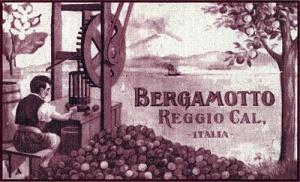 """Etichetta ottocentesca di una ditta di Reggio Calabria, nell'illustrazione è visibile la """"macchina calabrese"""" (fonte: wikipedia)"""