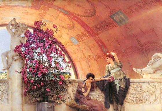 L'hora teae, momento conviviale tra donne avrebbe potuto svolgersi in questo modo. Questo è un dipinto dell'inglese Lawrence Alma-Tadema
